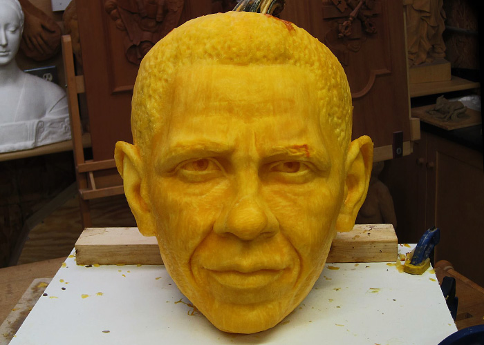 Sculpture of Obama on a pumpkin