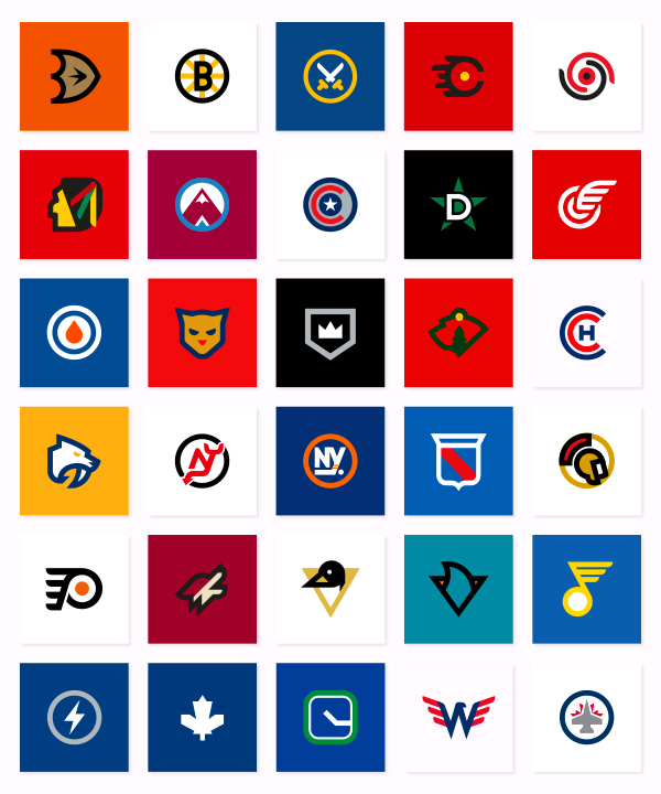 NHL color icon set